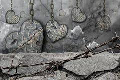 Coeurs modifiés la tonalité foncés de fond d'acier avec accrocher d'éraflures Photo stock