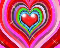 Coeurs multicolores avec des étoiles Photo libre de droits