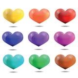 Coeurs multicolores lumineux, calibre pour la Saint-Valentin et nous Image stock