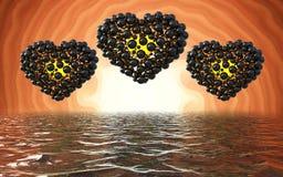 coeurs noirs faits de sphères avec des réflexions sur le lac lumineux spiral de fond et de waterscape Jour de Valentines heureux  Photo stock
