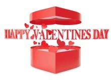 Coeurs ouverts heureux de boîte-cadeau et d'écoulement de jour de valentines Image stock