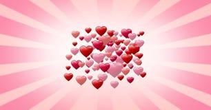 Coeurs pétillants de valentines Image libre de droits