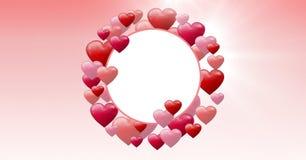 Coeurs pétillants de valentines avec le cercle vide Image stock