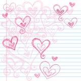 Coeurs peu précis de griffonnage de cahier Photographie stock libre de droits
