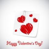 Coeurs peu précis sur une note de papier photographie stock