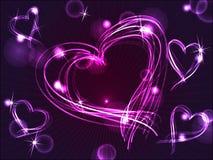 Coeurs pourprés de néon ou de plasma illustration stock