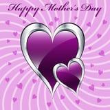 Coeurs pourprés du jour de mère Photos libres de droits