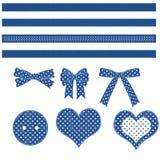Coeurs, proues, garnitures et bouton Images stock