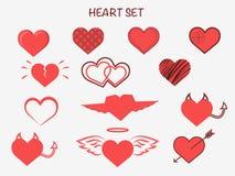 Coeurs réglés pour la conception de mariage et de valentine Image libre de droits