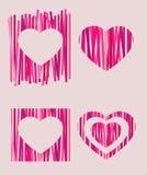 Coeurs rayés assortis Photo libre de droits