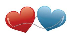 Coeurs reliés par un réseau Image libre de droits