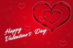 Coeurs romantiques du ` s de Valentine en rouge Photos libres de droits