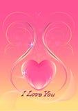 Coeurs roses décorés des lignes et des paillettes incurvées iridescentes Photos libres de droits
