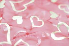 Coeurs roses de maille Photos stock