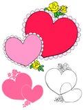 Coeurs roses et roses jaunes photo libre de droits