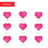 Coeurs roses réglés Coeurs lumineux Photos libres de droits