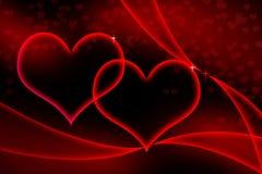 Coeurs rougeoyants Photo stock