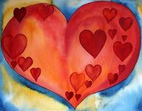Coeurs rouges à un coeur Image libre de droits