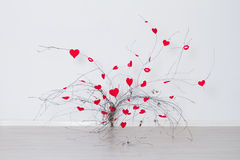 Coeurs rouges accrochant sur une branche d'arbre Le jour de Valentine Photo libre de droits