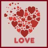 Coeurs rouges au coeur Images stock