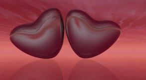 Coeurs rouges avec le ciel Photographie stock