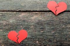 Coeurs rouges cassés photo libre de droits