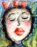 Coeurs rouges d'amour de lèvres de baiser de fille Images libres de droits