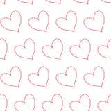 Coeurs rouges d'ensemble en alignement diagonal d'isolement à un arrière-plan infini sans couture transparent blanc de modèle illustration libre de droits