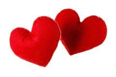 Coeurs rouges d'isolement sur le fond blanc Concept de l'amour Photo stock