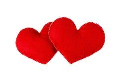 Coeurs rouges d'isolement sur le fond blanc Concept de l'amour Image stock