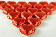 Coeurs rouges de chocolat Photo libre de droits