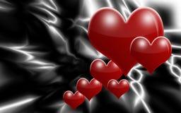 Coeurs rouges de flottement sur le Ba noir et blanc abstrait Photo libre de droits
