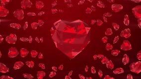 Coeurs rouges de gemme sur le fond de boucle banque de vidéos