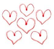 Coeurs rouges de valentine Images libres de droits
