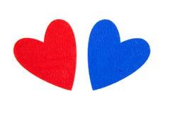 Coeurs rouges et bleus Image libre de droits