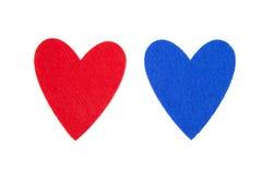Coeurs rouges et bleus Images libres de droits