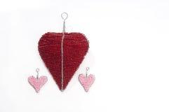 Coeurs d'amour de tissu Images stock
