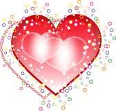 Coeurs rouges et roses sur le fond blanc. Photographie stock libre de droits