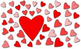 Coeurs rouges et roses sur le fond blanc Photographie stock libre de droits
