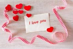 Coeurs rouges je t'aime Photographie stock libre de droits