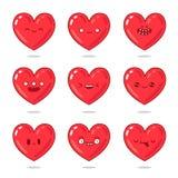 Coeurs rouges mignons et drôles avec différentes émotions Images libres de droits