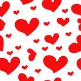 Coeurs rouges - modèle sans couture de vecteur Images libres de droits