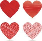 Coeurs rouges pour le jour de valentines   Photos stock