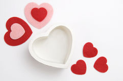Coeurs rouges, roses et blancs de jour de valentines Image stock