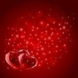 Coeurs rouges sur le fond étoilé Photos libres de droits