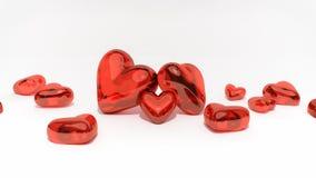 Coeurs rouges sur le fond blanc illustration de vecteur