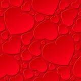 Coeurs rouges sur le fond rouge Image stock
