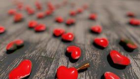Coeurs rouges sur le plancher, bokeh banque de vidéos