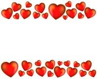 Coeurs rouges sur un fond blanc Photo libre de droits