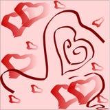 Coeurs rouges sur un fond rose Photo stock